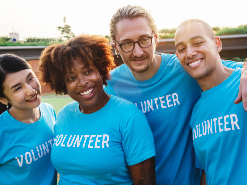 Group picture of four volunteers